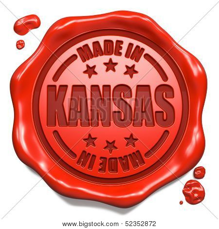 Made in Kansas - Stamp on Red Wax Seal.