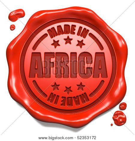Made in Africa - Stamp on Red Wax Seal.