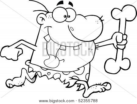 Black and White Caveman Running With A Big Bone