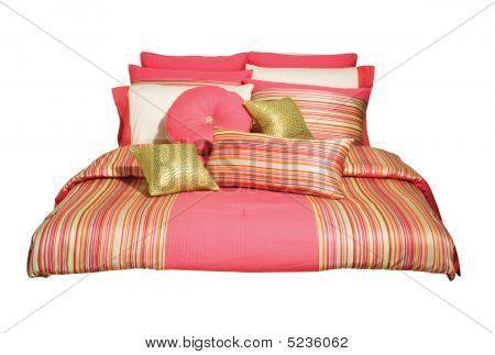 Decor, Stripes, Pillows, Peach, Bed