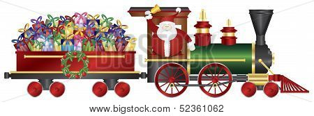Santa Claus On Train Delivering Presents Illustration