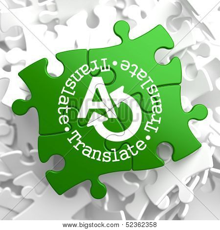 Translating Concept  on Green Puzzle Pieces.