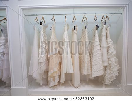 ZAGREB, CROATIA - OCTOBER 12: Wedding clothes presented on a fashion exhibition 'Wedding expo', on OCTOBER 12, 2013 in Zagreb, Croatia.
