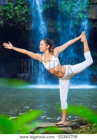 Beautiful Woman Practacing Yoga in Nature, Beautiful Natural Waterfall