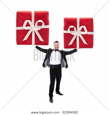 Smart Looking Man Holding Two Huge Red Gift Boxes