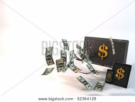 Background Dollar Flying