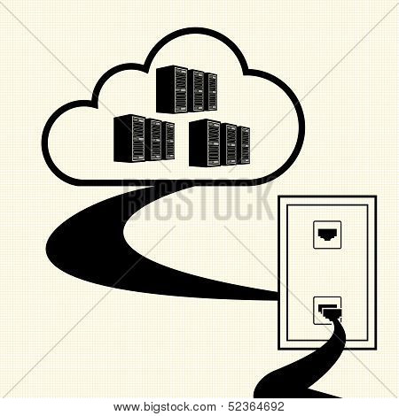 Cloud computing concept design. Connected to the cloud. Vector