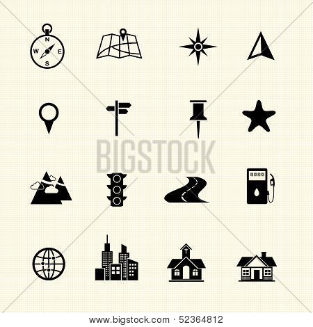 Map icons set, vector on texture background