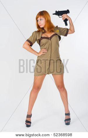 beautiful woman in military uniform