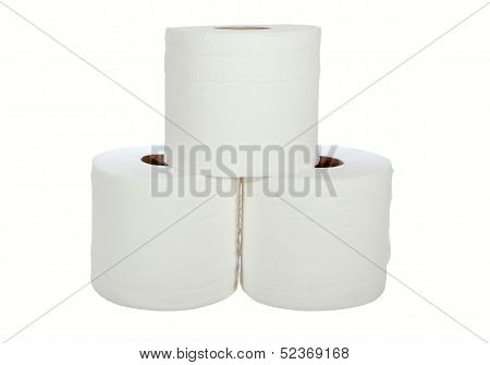Three White Toilet Rolls