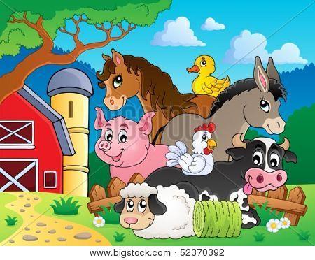 Farm animals topic image 3 - eps10 vector illustration.