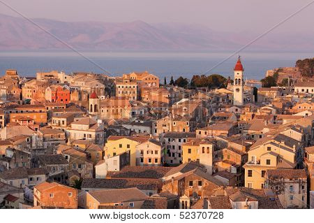 The City Of Corfu During The Sunset On A Sunny Day