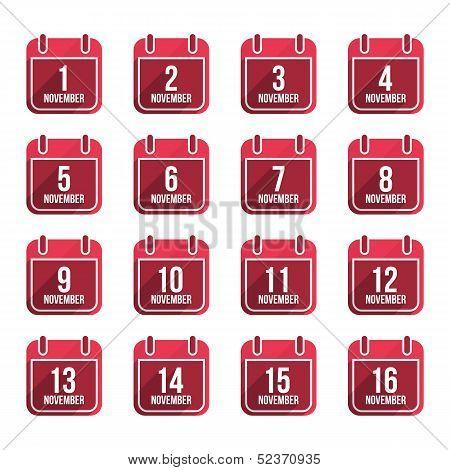 November vector flat calendar icons with long shadow. Calendar Days Of Year