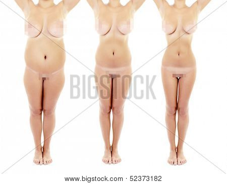Shots before and after loss weight overweight woman standing over white