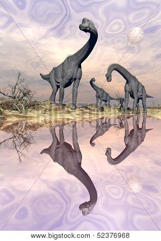 Brachiosaurus dinosaurs near water - 3D render
