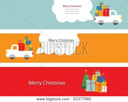 set of christmas cards with santa with presents