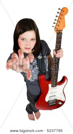 Frighten Woman With Red Guitar