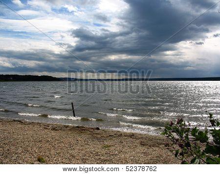 Lake, Cloudy Sky And Bank