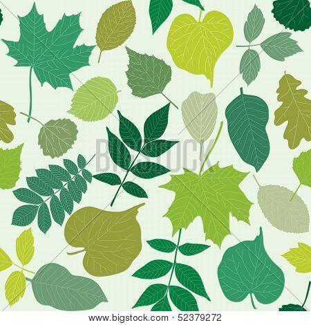 Tree leaves seamless pattern