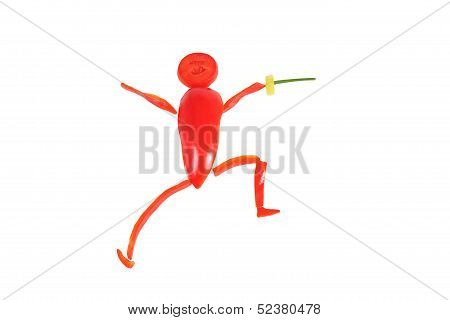 Healthy Eating. Little Funny Fencer Made of Pepper.