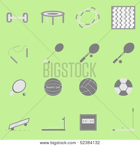 Fitness Sport Icon On Green Background