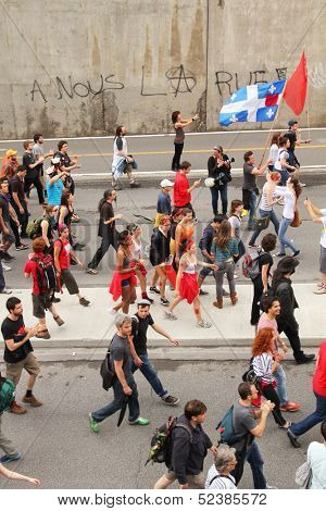 MONTREAL - MAY 22: Quebeckers demonstrate against new Law78, which imposes severe restrictions on rights to protest, intended to stop students protests regarding tuition fees hikes. 22 May 2012, Montreal