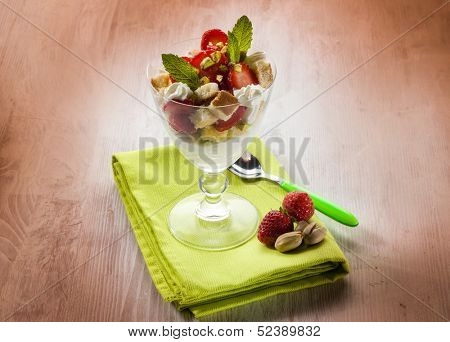 dessert with strawberries and pistachio