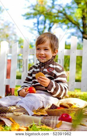 Little Boy Eating Cookies In The Autumn Park
