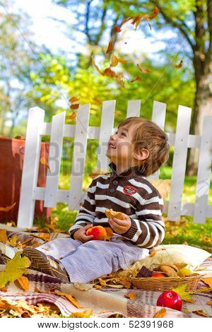 Little Boy Looking At Falling Leaves And Eating Cookies In Autum