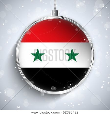 Merry Christmas Silver Ball With Flag Syria