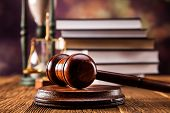 stock photo of court hammer  - Mallet legal code and scales of justice - JPG