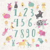 Learn to count concept set. All numbers and funny cartoon animals: cat, dog, cow, horse, rabbit and
