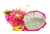 stock photo of dragon fruit  - Dragon Fruit isolated against white background  closeup - JPG
