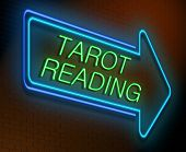 image of clairvoyant  - Illustration depicting an illuminated neon sign with a tarot reading concept - JPG