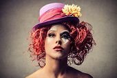stock photo of clown face  - portrait of a beautiful clown - JPG