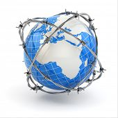 stock photo of character traits  - Earth and barbed wire - JPG