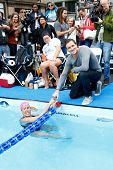 NEW YORK- OCT 8: Swimmer Diana Nyad and Olympic gold medalist Ryan Lochte attend Day 1 of 'Swim For