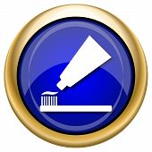 pic of gold tooth  - Shiny glossy icon with white design on blue and gold background - JPG