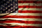picture of democracy  - Closeup of grunge American flag - JPG