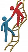 stock photo of climb up  - Person helping friend or partner join to climb up the golden ladder of success - JPG
