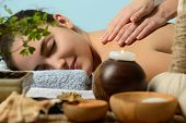 stock photo of beauty parlour  - portrait of young beautiful woman in spa environment - JPG