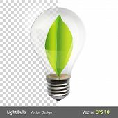 image of modification  - Bulb with a green leaf inside - JPG