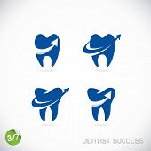 stock photo of toothache  - Vector Dentist Symbols With Sticker and Arrows - JPG
