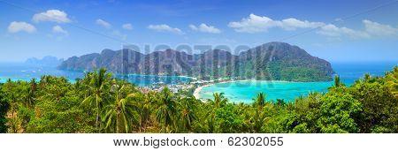 Panorama Of Phi Phi Island, Krabi, Southern Of Thailand.