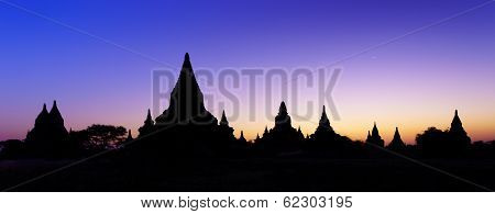 Silhouette, The Temples Of Bagan At Sunset, Bagan, Myanmar