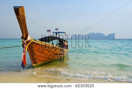 Traditional Longtail Boat In On Koh Phi Phi Don Island, Krabi, Thailand
