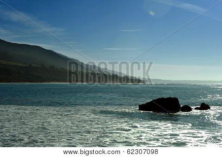 Oceanside beach and rocks