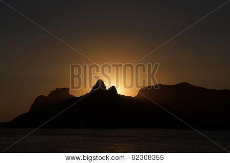 Silhouette Of Mountains In Sunset From Arpoador, Rio De Janeiro