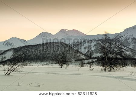 View Of Nalychevo Nature Park And Zhupanovsky Volcano At Sunrise. Kamchatka, Far East. Russia
