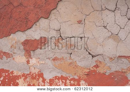 Fragment Of Old Teny With Layers Plaster